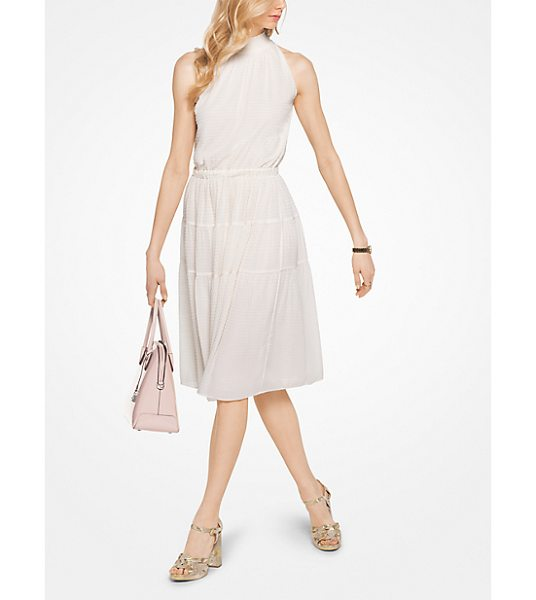 MICHAEL Michael Kors Smocked Chiffon Halter Dress in natural - For Days That Turn Into Evenings Try This Fabulous...