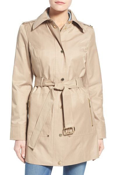 MICHAEL Michael Kors snap front belted trench coat in british khaki - Gleaming logo hardware puts a signature spin on a...