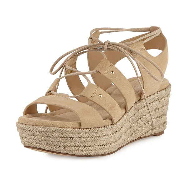 "MICHAEL Michael Kors Sofia Lace-Up Mid-Wedge Sandal in bone - MICHAEL Michael Kors sport suede sandal. 2.5"" braided..."