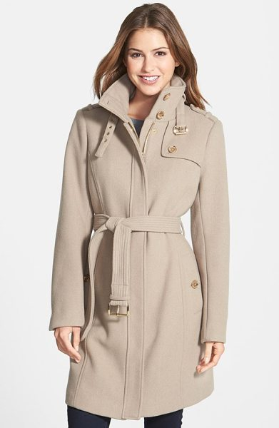 MICHAEL Michael Kors stand collar wool blend trench coat in taupe - Military inspiration and gleaming golden hardware...