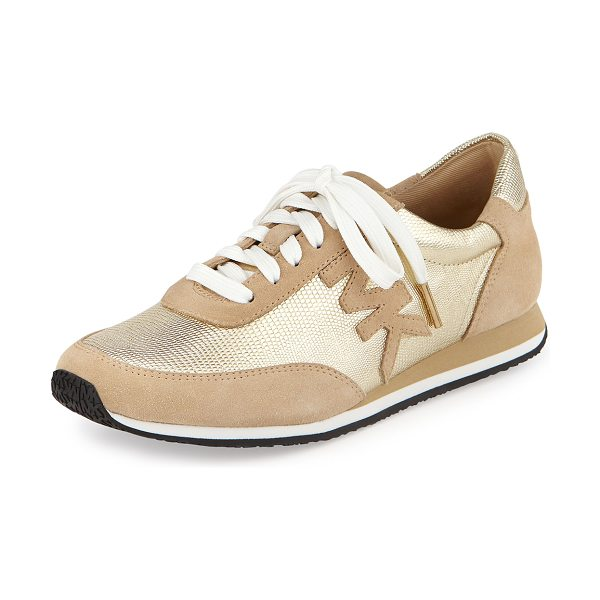 MICHAEL Michael Kors Stanton metallic leather trainer in pale gold - Michael Kors trainer with suede and metallic upper. 0....