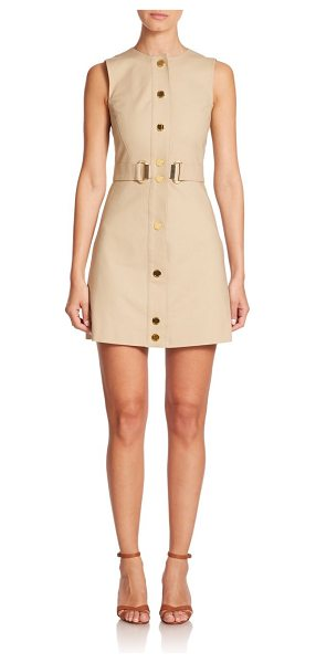MICHAEL MICHAEL KORS Stretch cotton d-ring dress - A shape-defining belt and goldtone hardware add stylish...