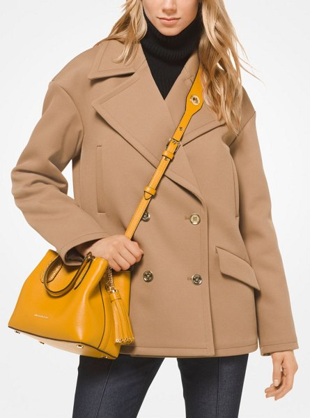 MICHAEL Michael Kors Stretch-Twill Peacoat in brown - A Polished Peacoat Is A Fall Essential. We Love This...