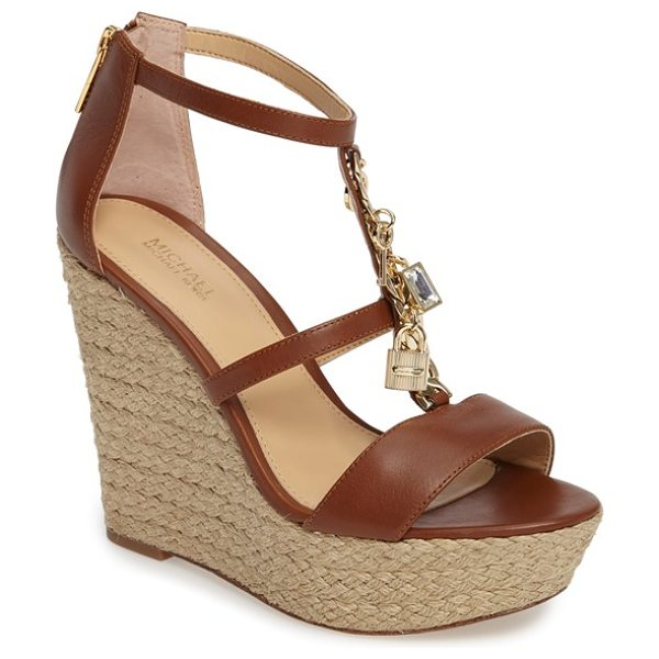 MICHAEL Michael Kors suki platform wedge sandal in luggage leather - A charm-bedecked curb chain boldly traces the T-strap of...