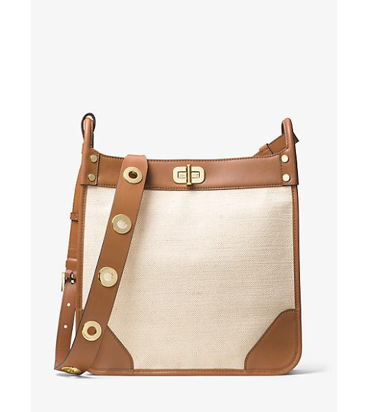 MICHAEL MICHAEL KORS Sullivan Large Leather And Linen Messenger in natural - Crafted From Lightweight Linen And Ultra-Smooth Leather...