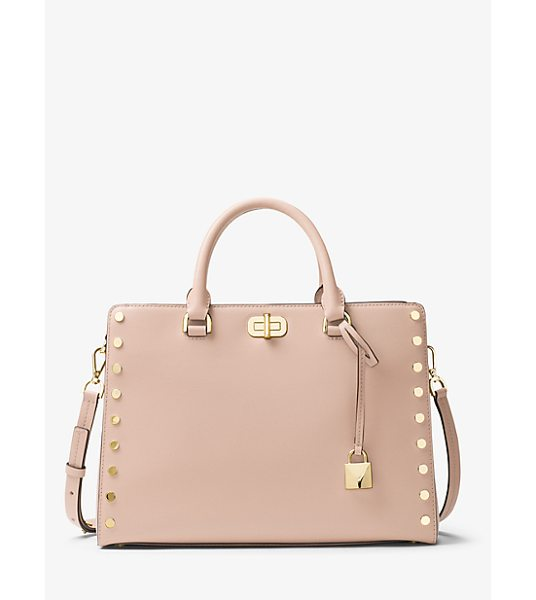 MICHAEL Michael Kors Sylvie Large Studded Leather Satchel in pink - Introducing The Sylvie: A Studded Leather Satchel...