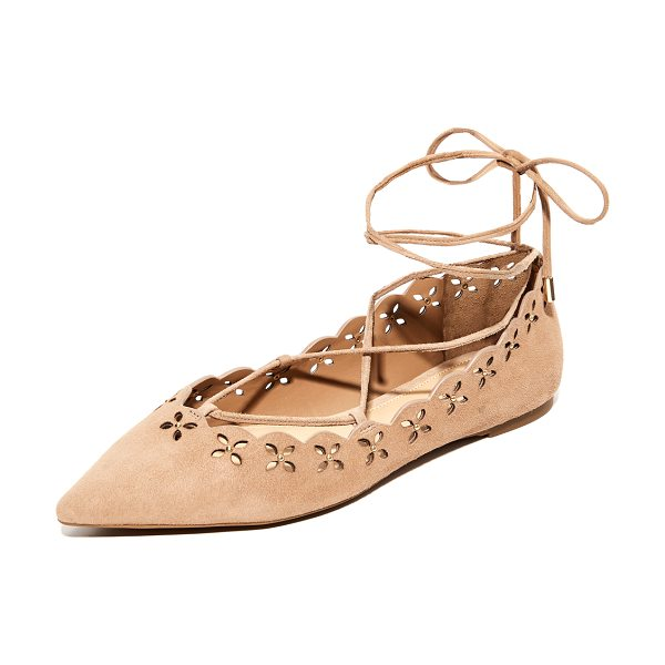 MICHAEL MICHAEL KORS thalia lace up flats in dk khaki - Polished studs punctuate the cutwork floral design on...