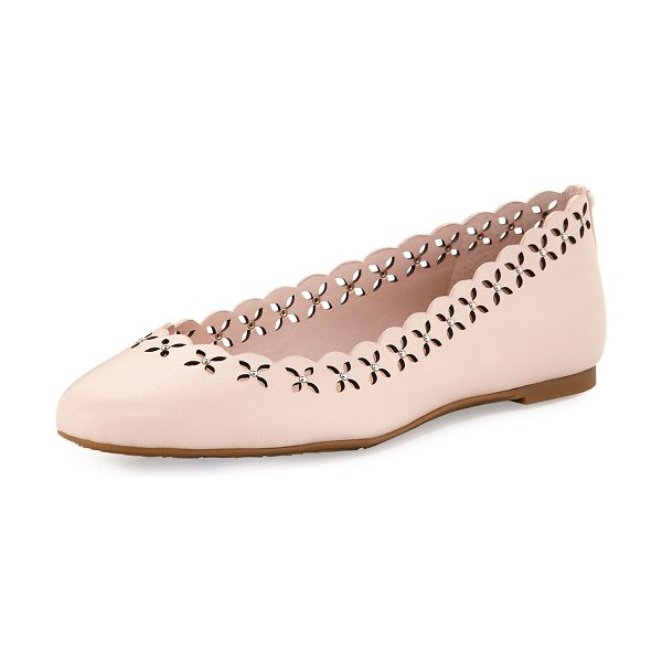 MICHAEL Michael Kors Thalia Laser-Cut Leather Ballerina Flat in pink - MICHAEL Michael Kors leather ballerina flat with studded...