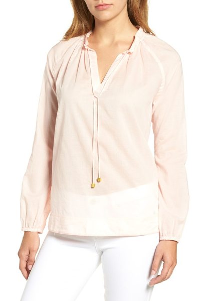 MICHAEL Michael Kors tie neck cotton top in ballet - Beaded ties cinch the softly gathered neckline of a...