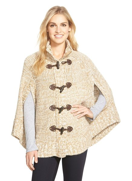 MICHAEL Michael Kors toggle front sweater knit cape in dark camel - Conjuring up weekends in the country, a mock-neck cape...