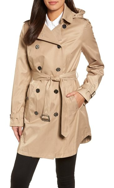 MICHAEL Michael Kors trench coat in british khaki - A smooth, lustrous fabric refines this double-breasted...