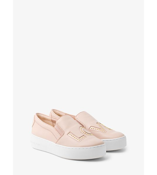 MICHAEL Michael Kors Trent Love Leather Slip-On Sneaker in pink - Our Trent Slip-On Sneakers Make A Statement This Season...