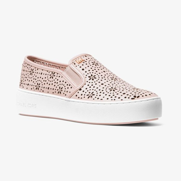 MICHAEL Michael Kors Trent Perforated Leather Slip-On Sneaker in pink - Our Trent Slip-On Sneakers Strike A Cool Yet Feminine...