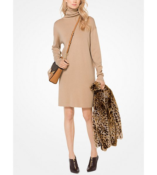 MICHAEL MICHAEL KORS Turtleneck Sweater Dress in brown - Designed In A Relaxed Fit This Turtleneck Sweater Dress...