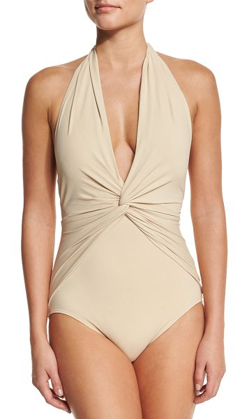 MICHAEL Michael Kors Twist-Front Halter One-Piece Swimsuit in sand - MICHAEL Michael Kors one-piece swimsuit in solid...