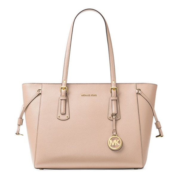MICHAEL Michael Kors voyager medium leather tote in soft pink