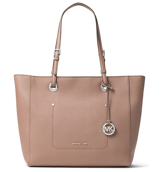 MICHAEL MICHAEL KORS Walsh Large East-West Top-Zip Tote Bag in beige - MICHAEL Michael Kors saffiano leather tote bag....