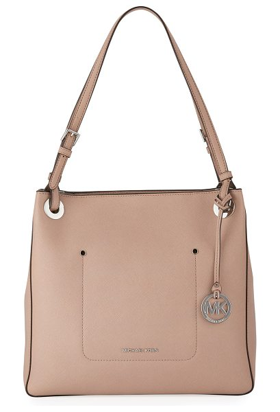 MICHAEL MICHAEL KORS Walsh Medium Saffiano Tote Bag in beige - MICHAEL Michael Kors soft saffiano leather tote bag....