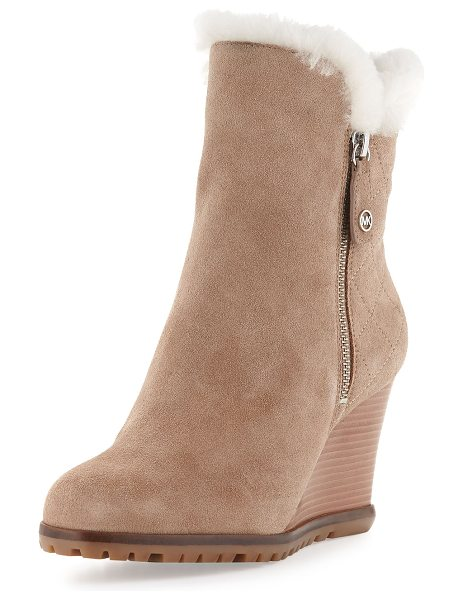 MICHAEL MICHAEL KORS Whitaker shearling-lined wedge boot - MICHAEL Michael Kors tumbled leather boot. Dyed sheep...