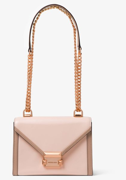 30c9d42afc3f6 MICHAEL Michael Kors Whitney Small Two-Tone Leather Convertible Shoulder Bag  in pink - A