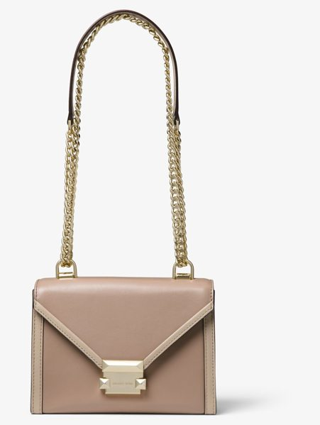 MICHAEL Michael Kors Whitney Small Two-Tone Leather Convertible Shoulder Bag in brown - A Polished Option For Every Day Or An Evening Out The...