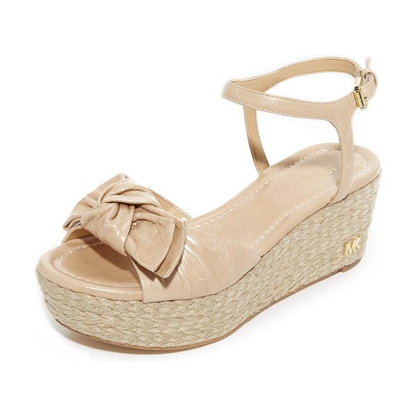 MICHAEL Michael Kors willa mid wedges in light khaki - A leather strap with a large bow forms the vamp of these...
