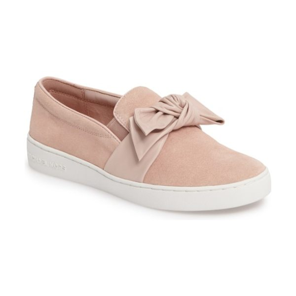 MICHAEL Michael Kors willa sneaker in ballet leather - A knotted bow adds texture and dimension to this...