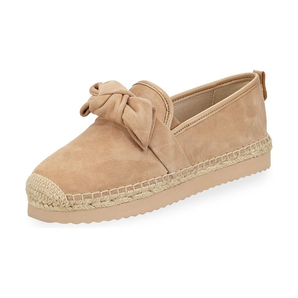 MICHAEL MICHAEL KORS Willa Suede Platform Espadrille Flat in bisque - MICHAEL Michael Kors suede espadrille with knotted...