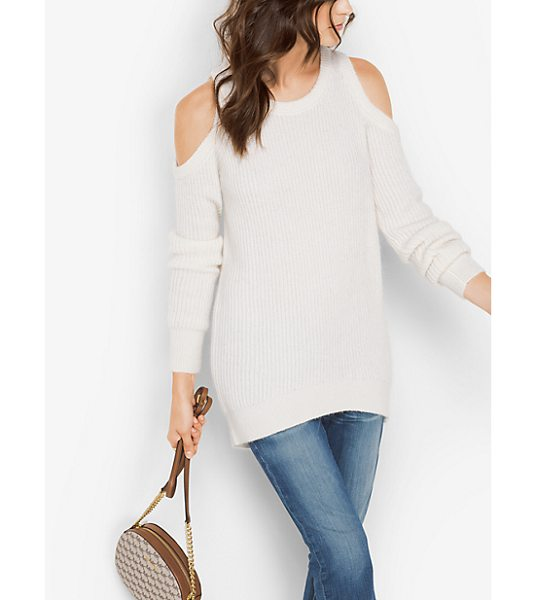 MICHAEL Michael Kors Wool-Blend Peekaboo Sweater in natural - Designed To Showcase The Shoulders This Cozy Pullover Is...
