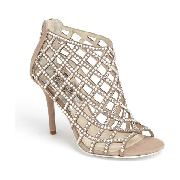 MICHAEL Michael Kors yvonne bootie in khaki - Glittering cage straps dotted with faceted crystals...