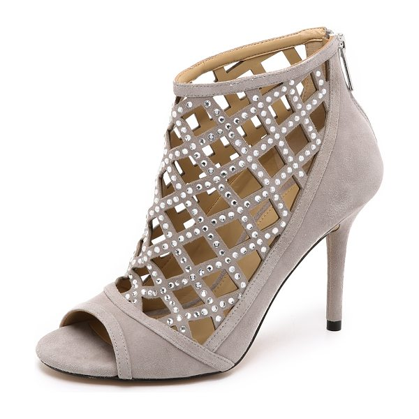 MICHAEL MICHAEL KORS Yvonne open toe booties - Crystals shimmer from the laser cut lattice detailing on...