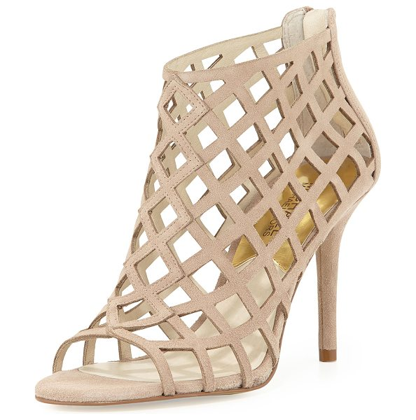 """MICHAEL Michael Kors Yvonne suede cage bootie - in khaki - Khaki suede upper. Covered 3 1/2"""" heel. Open toe. Cutout..."""