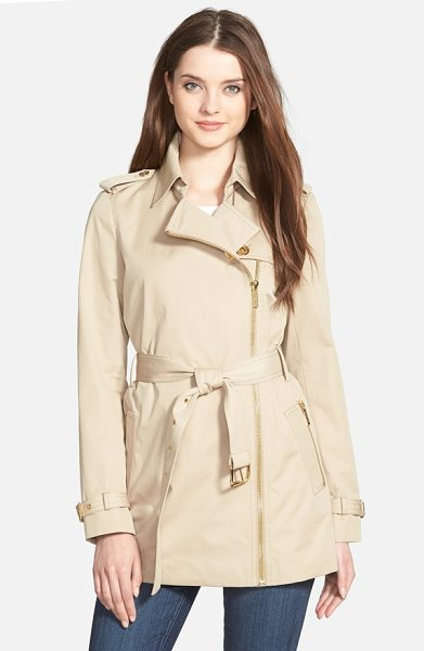 MICHAEL Michael Kors zip front short trench coat in khaki - Gleaming goldtone hardware, including an asymmetrical...