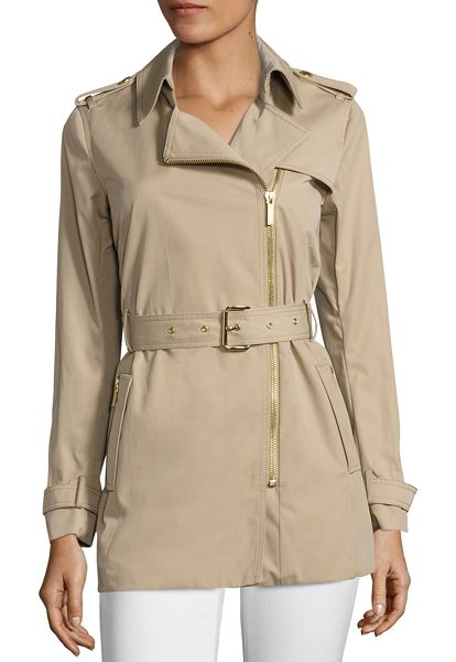 MICHAEL Michael Kors asymmetrical zip trench coat in khaki - On-trend trench coat highlighted with asymmetrical front...
