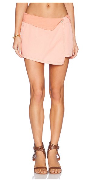 "Michael Stars Asymmetrical wrap skort in coral - Cotton blend. Skort measures approx 11"""" in length. Flap..."