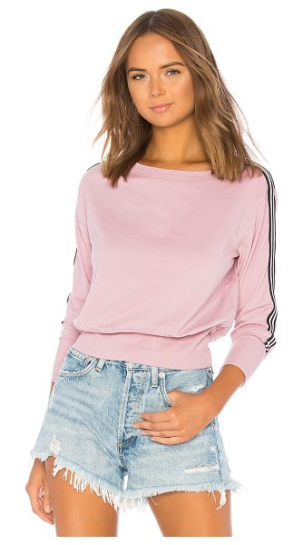 Michael Stars Athletic Stripes Pullover in mauve - Self: 94% cotton 6% lycraContrast: 96% cotton 4% lycra....