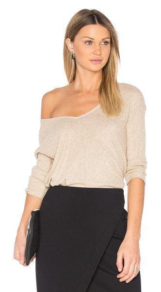 Michael Stars Bias Sweater in metallic gold - 92% rayon 4% lurex 4% spandex. Hand wash cold. Rib knit...