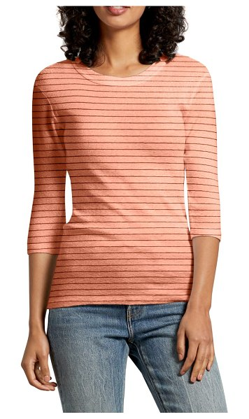 Michael Stars emelie stripe shine tee in coral - Add a fresh dose of sparkle to your everyday repertoire...
