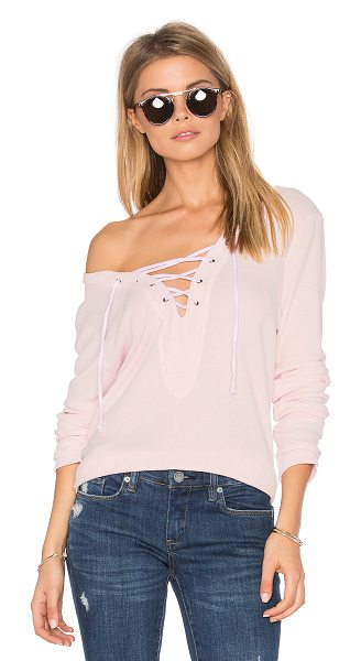 Michael Stars Lace Up Pullover in blush - Self: 50% cotton 50% modalContrast: 100% cotton. Front...