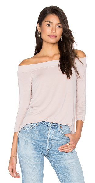 MICHAEL STARS Off Shoulder Tee in chai - 95% rayon 5% spandex. Jersey knit fabric. MICH-WS3647....