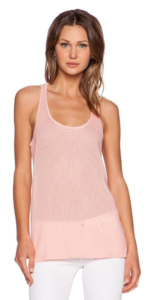 Michael Stars Racerback mesh tank in peach - 98% cotton 2% lycra. Perforated fabric. MICH-WS3478....
