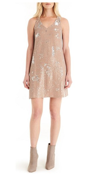 Michael Stars sequin mini dress in chai/ silver - Shimmering sequins cover a slinky tank dress in a...