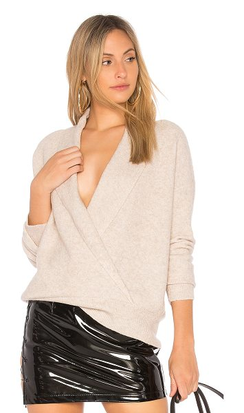 Michael Stars Shawl Collar Crossover Top in beige - 42% poly 26% merino wool 19% viscose 10% nylon 3%...