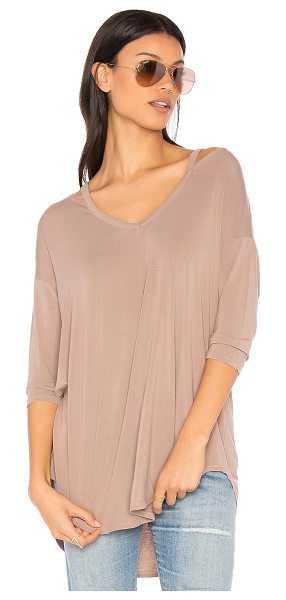 Michael Stars Slit Shoulder Tee in taupe - 95% rayon 5% spandex. Open shoulders. Jersey knit...