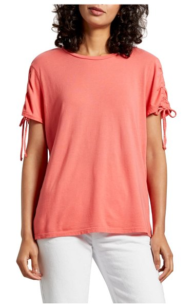 Michael Stars taryn ruched sleeve tee in coral - A relaxed tee of fluid modal-and-cotton knit stands out...