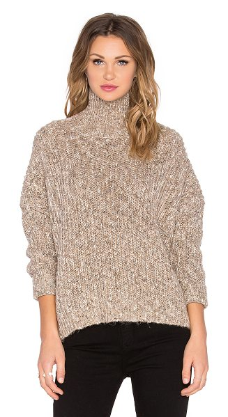 Michael Stars Turtleneck back zip sweater in brown - Cotton blend. Hand wash cold. Metallic thread accent...
