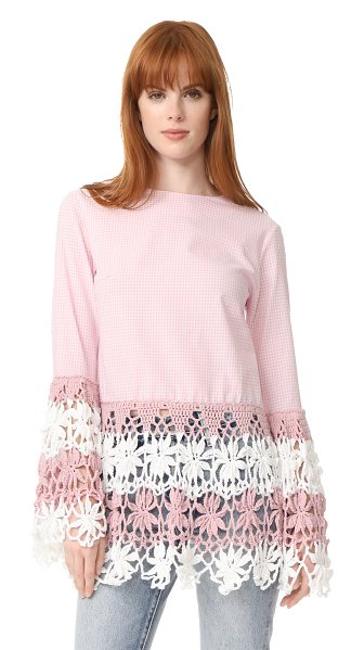 Michaela Buerger long sleeve top in light pink/white - This checkered Michaela Buerger blouse is finished with...