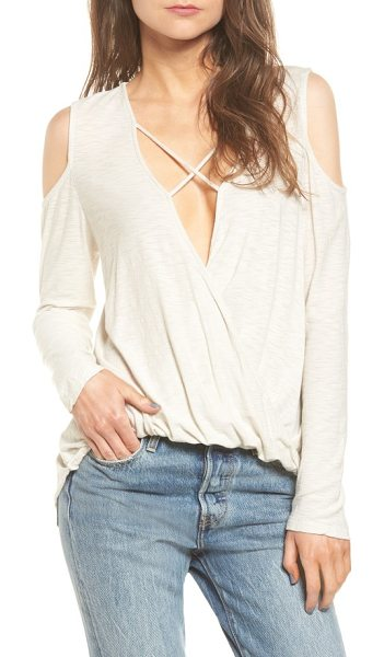 MICHELLE BY COMUNE anchor cold shoulder surplice tee - Crisscrossed straps secure the dramatically draped...