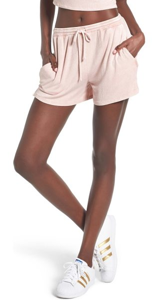 Michelle by Comune olney shorts in bunny nose pink - Drawstring shorts in supersoft ribbed jersey are comfy...