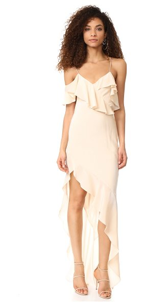 Michelle Mason asymmetrical ruffle gown in bisque - NOTE: Runs true to size. Graceful flounces trim the V...